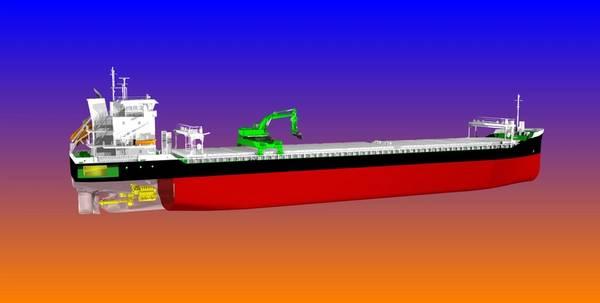 Os graneleiros com descarga automática que estão sendo construídos para a Aasen Shipping serão os primeiros de seu tipo a operar com propulsão híbrida. (Imagem: Aasen Shipping)