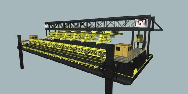 الشكل (أ): قارب حصيرة مع نظام الروبوتات. (الصورة: مجموعة بريستول هاربور)
