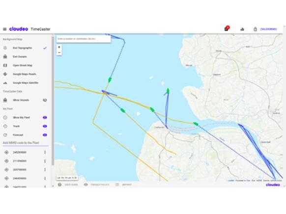 टाइमकास्टर वेब ऐप: पिछले शिपिंग मार्ग नीले रंग में प्रदर्शित होते हैं, और अनुमानित भविष्य के मार्ग पीले रंग में दिखाए जाते हैं (छवि: क्लाउडियो)