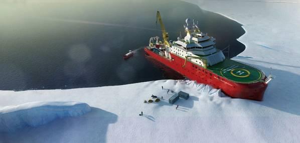 Construído por Cammell Laird e operado pelo British Antarctic Survey, o navio de pesquisa polar Sir David Attenborough da RRS visa transformar a maneira como a ciência transportada por navios é conduzida nas regiões polares. (Foto: Pesquisa Antártica Britânica)
