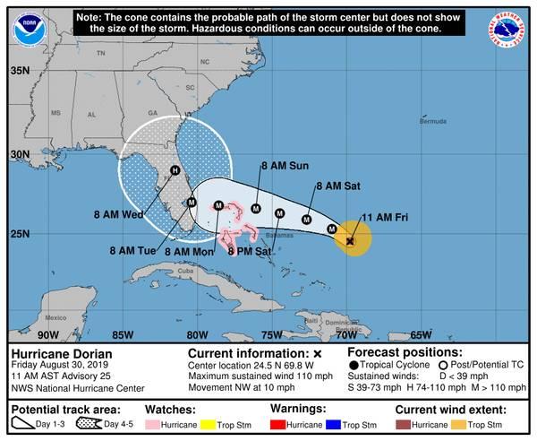 Die Situation des NOAA National Hurricane Center Storm Cone am 30. August 2019 um 11.00 Uhr vor Ort.