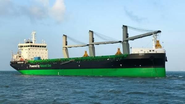 M / V Haaga是世界上第一艘液化天然气双燃料小灵便型散货船,船上配备了一系列节能解决方案(照片:ESL Shipping)