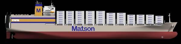 """Matsons neuestes Schiff, das größte jemals in den Vereinigten Staaten gebaute Container / Roll-On / Roll-Off-Schiff (""""con-ro""""). Bildnachweis: NASSCO"""