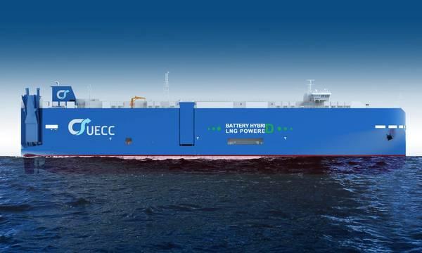 O terceiro transportador de carros e caminhões (PCTC) movido a GNL da UECC terá, além disso, a tecnologia de propulsão por bateria híbrida a bordo. O navio será empregado nas rotas de comércio marítimo de curta distância do Atlântico da empresa. (Imagem: UECC)