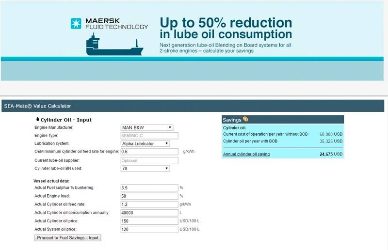 Maersk fluid technology upgrades sea mate for Outboard motor fuel consumption calculator