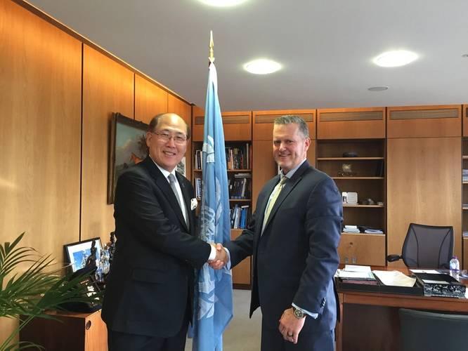 Kitack Lim, Secretary-General, International Maritime Organization (IMO) and Greg Trauthwein, Editor & Associate Publisher, Maritime Reporter & Engineering News at IMO headquarters in London last week.