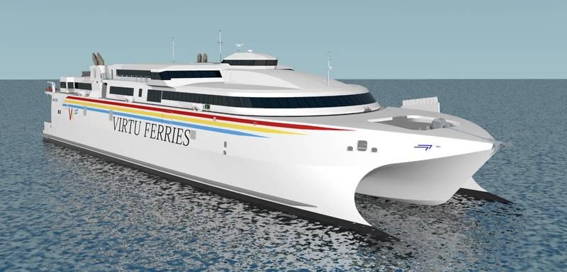 3D artist impression of the 110 meter ferry (Image: Incat)