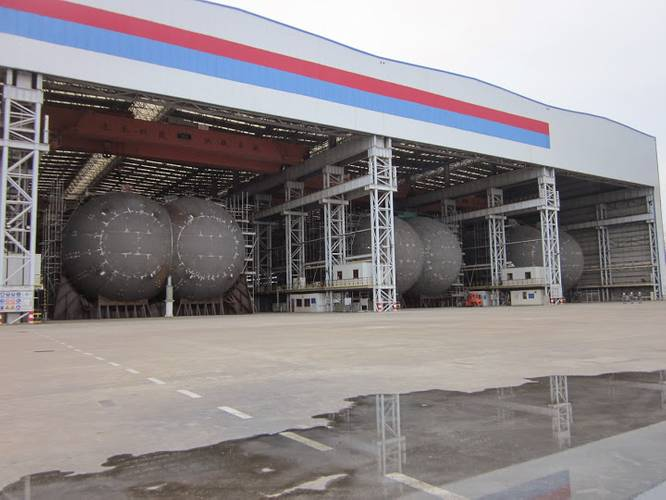 9,686 cu m bilobe Type C LNG tanks building at Sinopacific for Denmark's Evergas and classed by BV