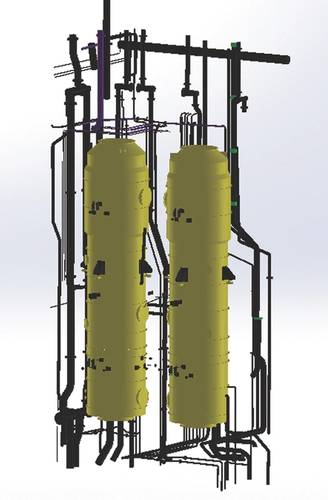 A 3D model of the scrubber with system connections. (Image: Goltens)