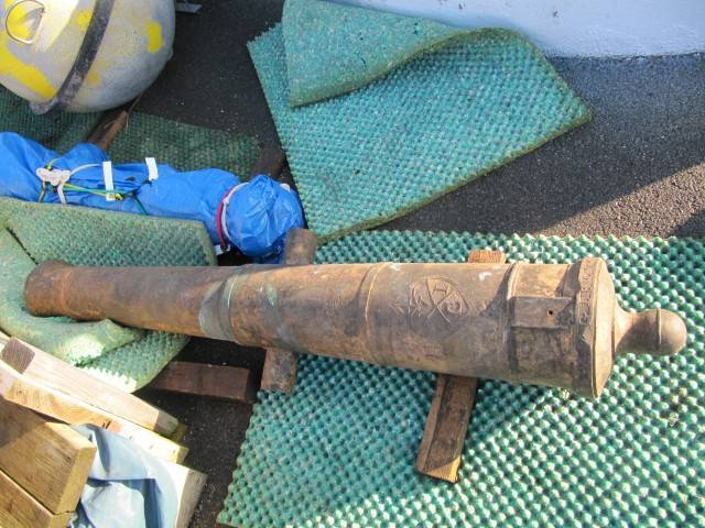 A cannon that was taken from one of the wrecks (MCA photo)