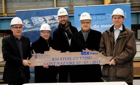 A ceremony was held at the STX France shipyard in Saint-Nazaire to mark the beginning of construction for Royal Caribbean's fourth Oasis class cruise liner. (Photo courtesy of Royal Caribbean)
