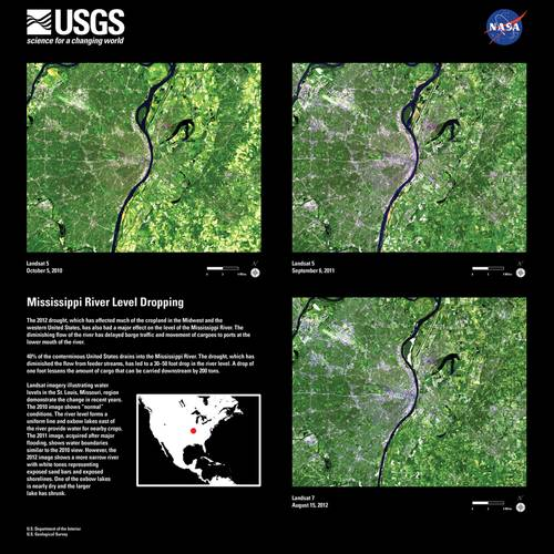A collection of U.S. Geological Survey imagery depicting dropping levels on the Mississippi River. (Image courtesy USGS)