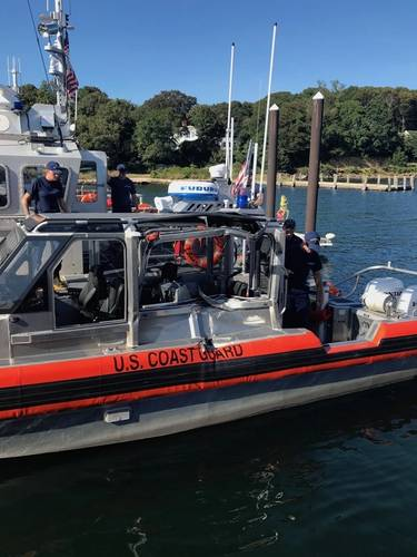 A damaged 29-foot response boat small from Maritime Safety and Security Team Cape Cod located on Air Station Cape Cod on Wednesday, Sept. 5, 2018. (U.S. Coast Guard photo)