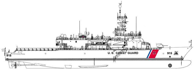 A depiction of the U.S. Coast Guard's Offshore Patrol Cutter design (CREDIT: ESG)