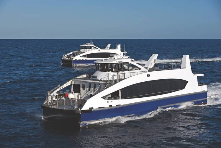 A Hornblower contract won by two Gulf Coast yards produced a new fleet of aluminum ferries for New York City (Photo: Metal Shark)