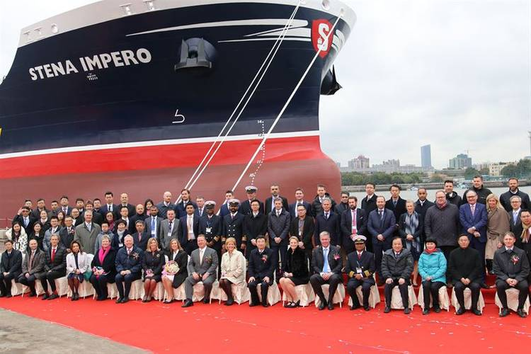 A large number of guests, including customers, partners, employees and representatives of the shipyard and corporate management, gathered at the shipyard to attend the Stena Impero naming ceremony. (Photo: Stena Bulk)