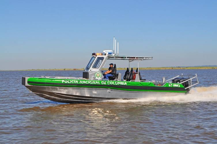 A new Metal Shark 33 Relentless patrol boat built for the Colombian National Police, shown here during testing near Metal Shark's Jeanerette, Louisiana production facility. (Photo: Metal Shark)