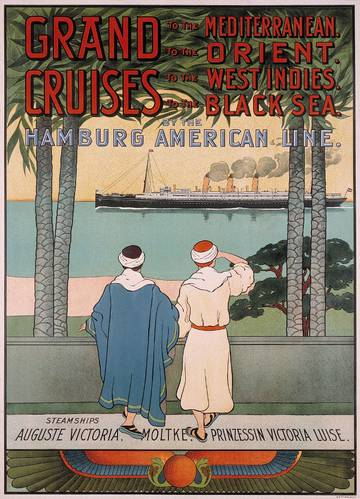 A poster advertisement for a future voyage on the Augusta Victoria that sailed on her first cruise in 1891. (Image: Hapag-Lloyd)