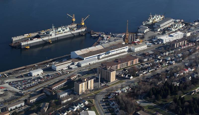 A recent aerial photo of Irving Shipbuilding's Halifax Shipyard taken in December 2012.