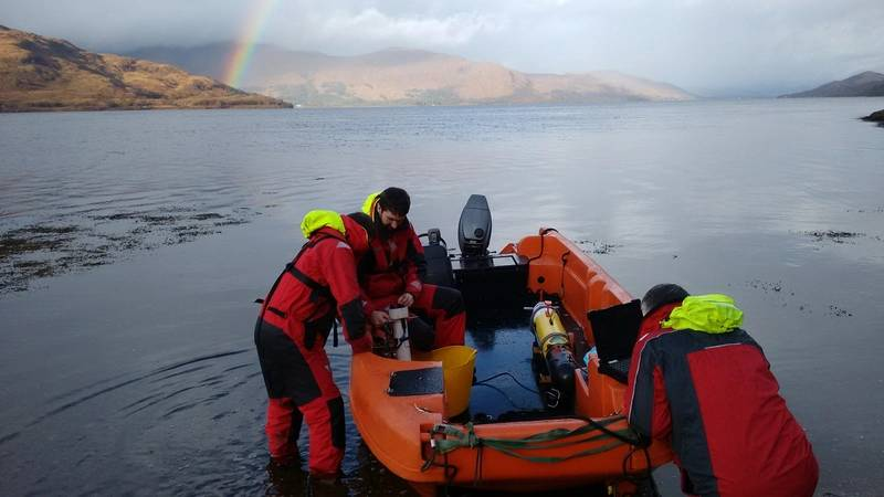 A Remus AUV being deployed in the Corran Narrows. Photo from MarynSol.