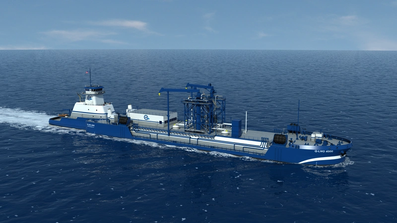 A rendering of the future Shell Q LNG Bunker Barge. (CREDIT: QLNG)