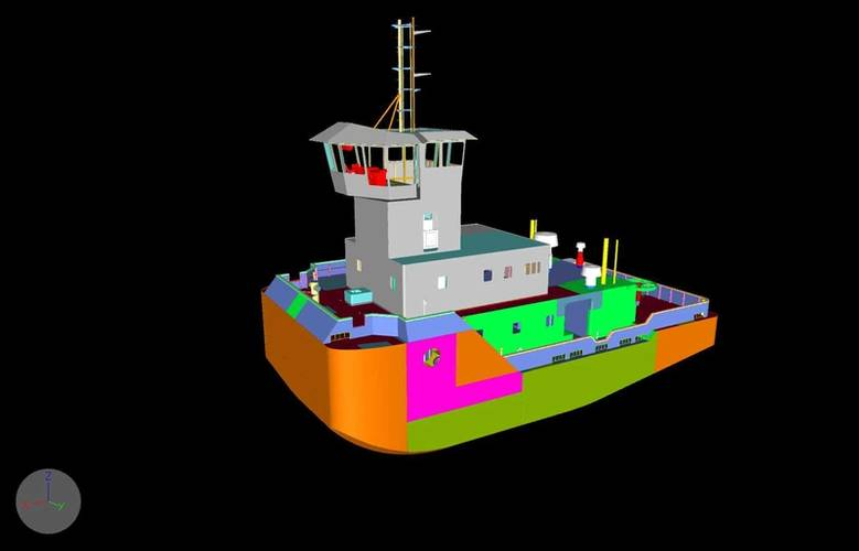 A rendering of the port bow quarter of the new tug showing coupling. (Image: ITB)