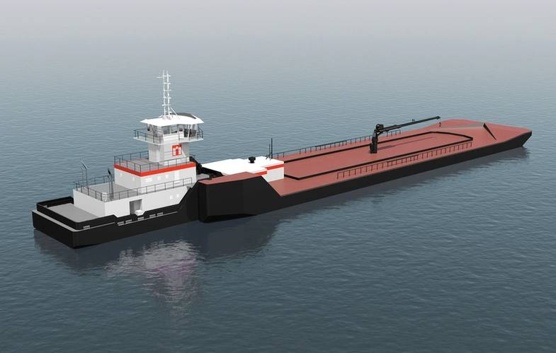 A rendering of the tug as it will look coupled to its barge. (Image: ITB)