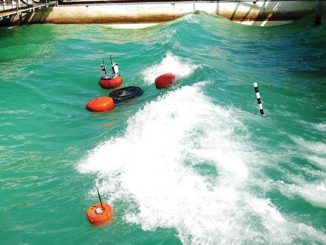 A tagging system equipped with a wave characterization module is mounted to a skimmer to track the skimmer location and wave conditions during spill response operations. Image: Courtesy Ohmsett