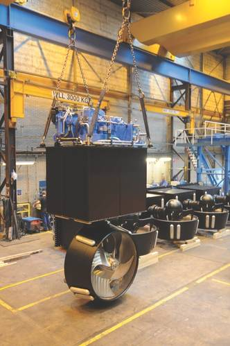 A ZF Marine Well Mount Azimuth Thruster being prepared for shipment to an inland waterway project. (Photo: ZF)