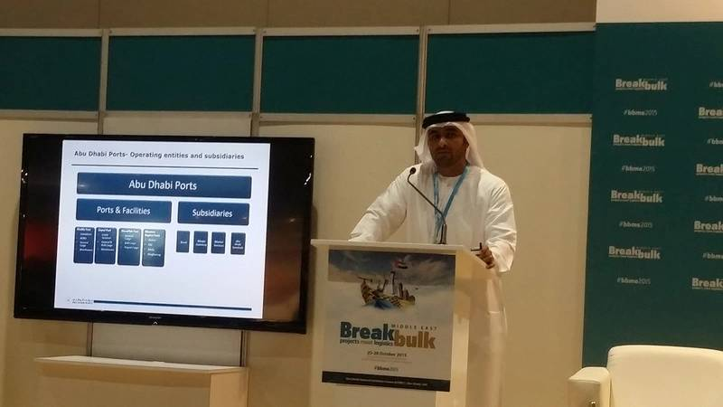 Abdulkareem Al Masabi, VP-Operations at Abu Dhabi Ports participates at the first Annual Breakbulk Middle East Conference & Exhibition (Photo: Abu Dhabi Ports)
