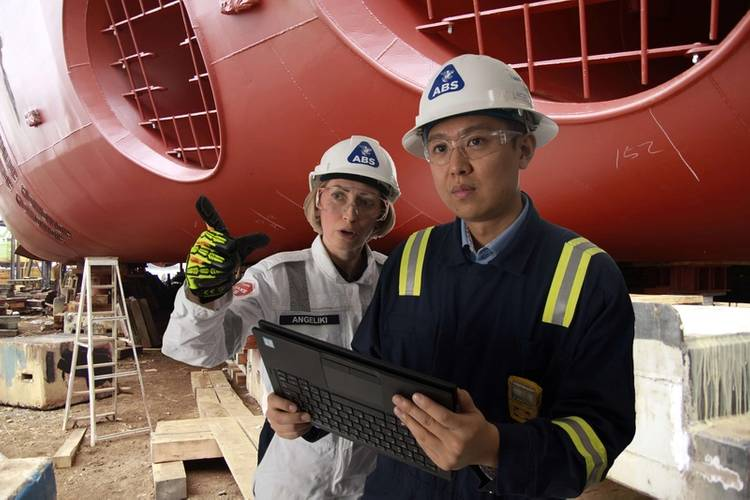 ABS Technical personnel in the field at a shipyard. (CREDIT: ABS)