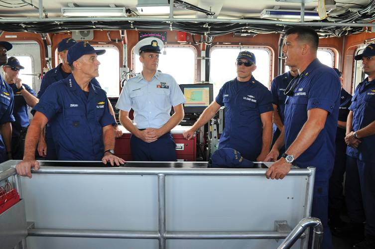 Adm. Paul Zukunft gets a first-hand-look at the engineering spaces aboard the Coast Guard Cutter Paul Clark. Photo Credit: USCG Photo, Patrick Kelley, Photographer to the Commandant