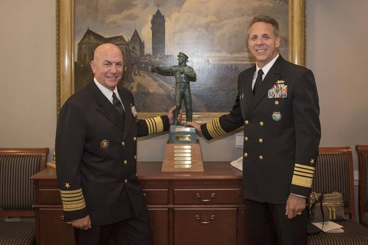 Adm. Phil Davidson, commander of U.S. Indo-Pacific Command, right, and Adm. Kurt W. Tidd, commander of U.S. Southern Command, pose with the Old Salt Award during a ceremony at the Pentagon. Davidson received the Old Salt award which is sponsored by the Surface Navy Association (SNA) and is given to the longest serving active-duty officer who is surface warfare officer (SWO) qualified. (U.S. Navy photo by Mass Communication Specialist 2nd Class Paul L. Archer/Released)