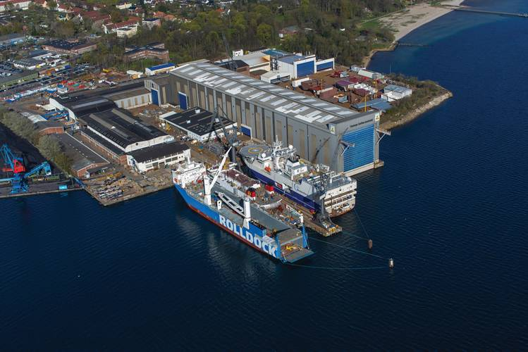 Aerial image of the Flensburger Schiffbau-Gesellschaft at the Flensburg Fjord in the North of Germany.