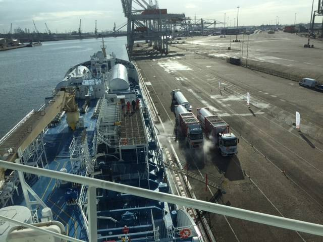 After completion of discharging of cargo, Ternsund shifted to another jetty for starting cooling down the bunker tanks for LNG fuel into -160 C. (Photo: Terntank)
