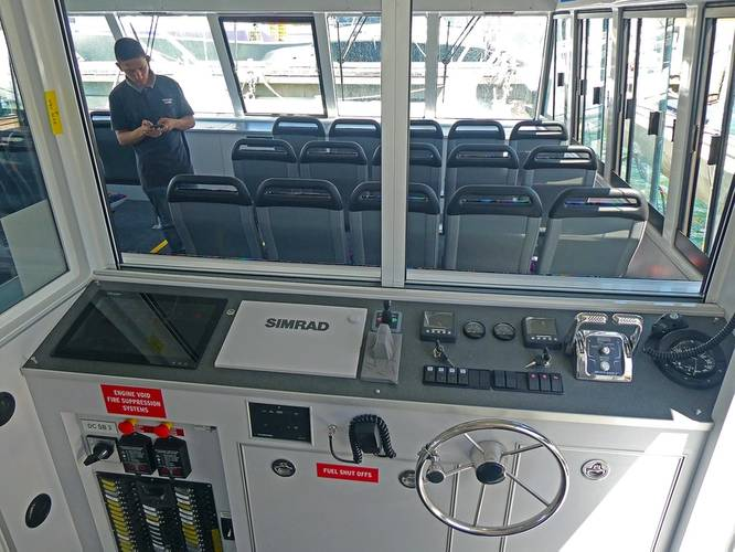 All controls are centralized in a compact wheelhouse on the starboard side, an arrangement that enables the Master to dock the ferry singlehandedly and monitor passenger flows without leaving the control station. Photo: Dongara Marine