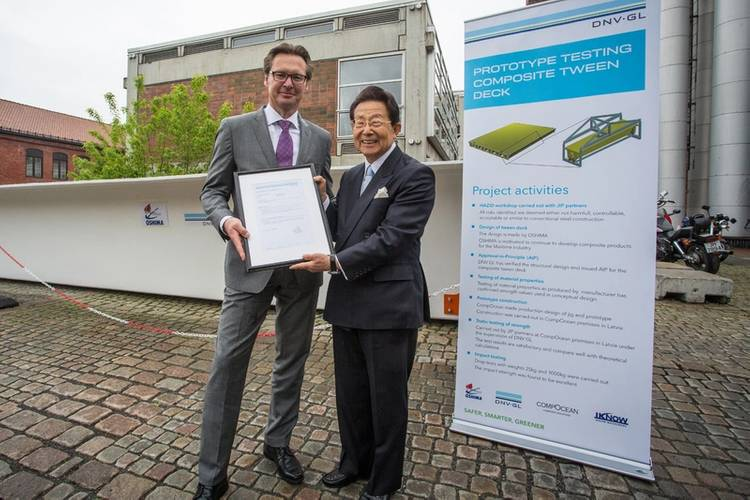 An AiP for the new tween deck solution was presented to Sho Minami, the CEO of Oshima Shipbuilding Co., Ltd, by Knut Ørbeck-Nilssen, CEO DNV GL – Maritime (Photo: DNV GL)