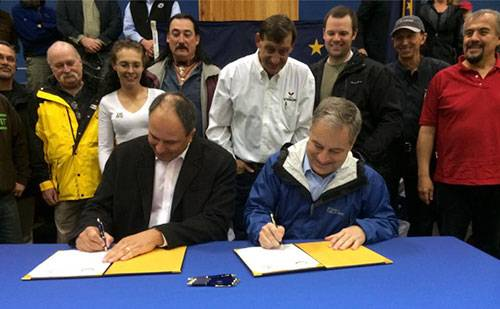 An announcement was made September 20 that Alaska's new ferries will be built in Southeast Alaska. Adam Beck, President of Vigor Alaska and Alaska Governor Parnell sign the agreement. (Photo courtesy Office of the Governor)