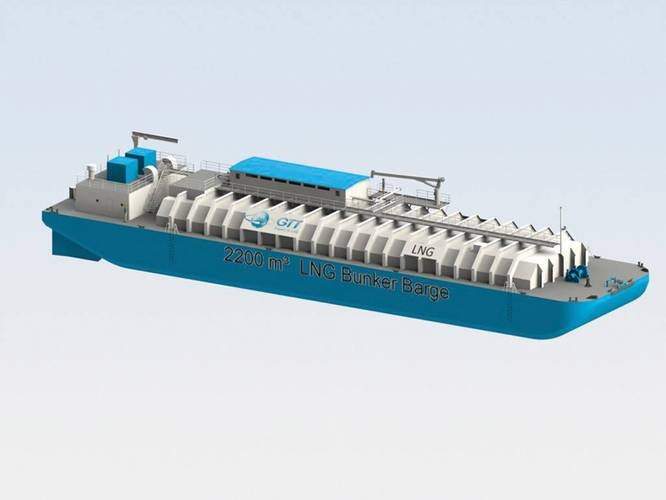 An artist's depiction of North America's first LNG bunker barge. (Courtesy: Bristol Harbor Group, Inc.)