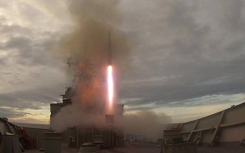 An Evolved Sea Sparrow Missile fires from HMAS Melbourne's MK-41 vertical launcher during training in the East Australian Exercise Area off the New South Wales coast. (Photo: Bonny Gassner)