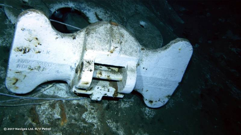 "An image shot from a ROV shows the bottom of an anchor clearly marked ""U.S. Navy"" and ""Norfolk Navy Yard."" (Photo courtesy of Paul G. Allen)"