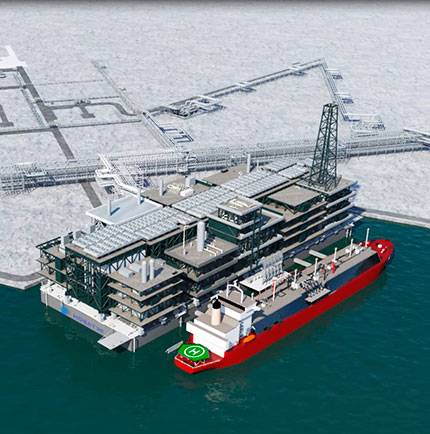 An LNG tanker next to the offshore Gravity Based Structure -Image Credit: Novatek