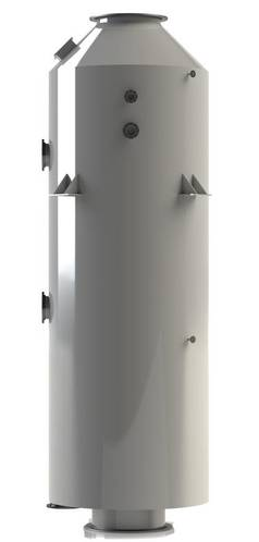 An up-flow configuration such as the CROE Scrubber Design shown to the left is designed to require less space than the side-entry designs.