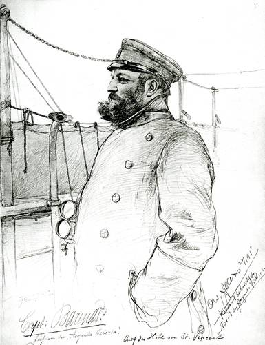 Christian Wilhelm Allers provided illustrations of the first cruise, among them Master Barends (Image: Hapag-Lloyd)