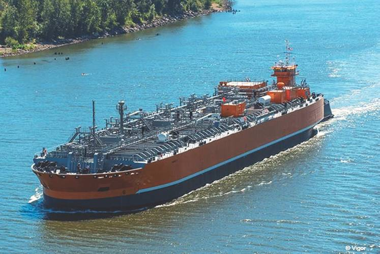Articulated tug and barge unit (ATB) Harvest & Abundance is the first in the Jones Act fleet for liquefied ammonia transport (Photo: Vigor)