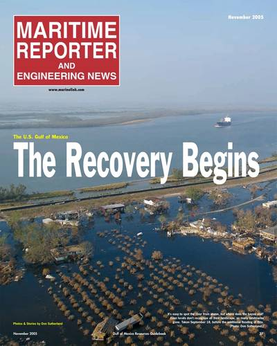 As this cover of the November 2005 edition of Maritime Reporter & Engineering News attests, the effects of a hurricane – in this case Katrina –can devastate the marine industry.