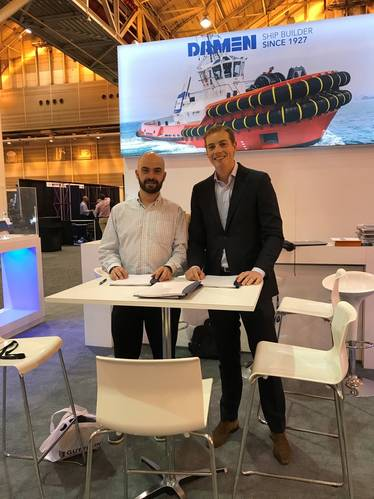 At the contract signing at the International WorkBoat Show in December 2017: Martin Plante, assistant Manager, purchasing and infrastructures, Group Ocean; with Daan Dijxhoorn, Damen regional sales manager North American, Damen Shipyards Gorinchem (Photo: Damen)