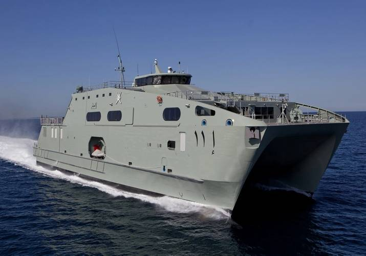 Austal's 72m High Speed Support Vessel developed for the Royal Navy of Oman is similar in size (length) to Offshore Patrol Vessels under consideration for the Commonwealth's SEA1180 Program – and demonstrates the company's success in developing competitive export products. (Image: Austal)