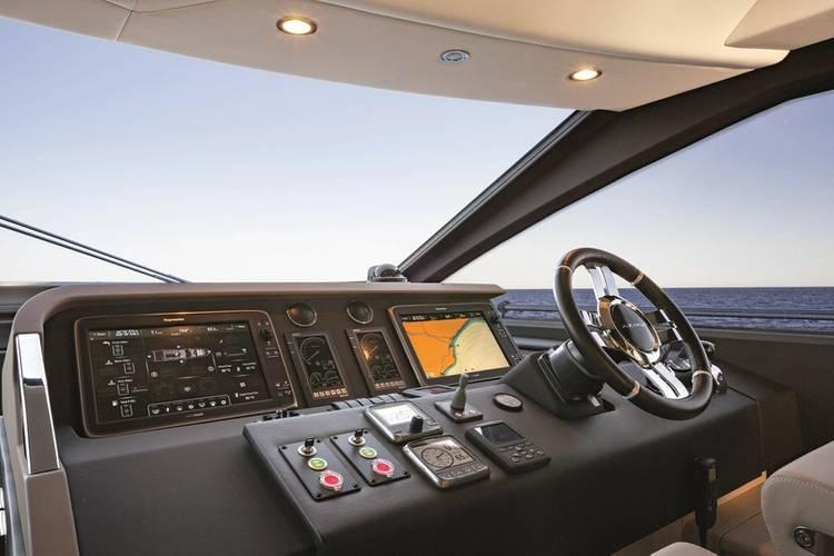 Azimut 74' Internal Wheelhouse, Sand Oak & Glossy Ebony Version. Image courtesy of Azimut Yachts