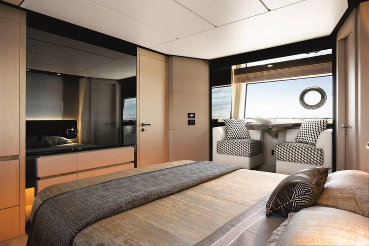 Azimut 74' Master Cabin - Sand_Oak & Glossy Ebony Version. Image courtesy of Azimut Yachts